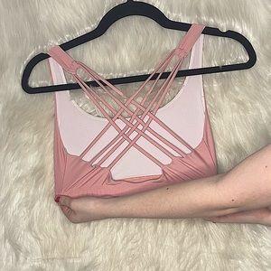Onzie pink crisscross back mauve sports bra size s